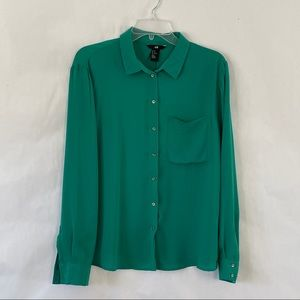 H&M button down career casual  blouse green sz 12